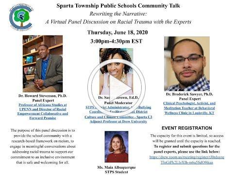 STPS Community Talk: Rewriting the Narrative: A Virtual Panel Discussion on Racial Trauma