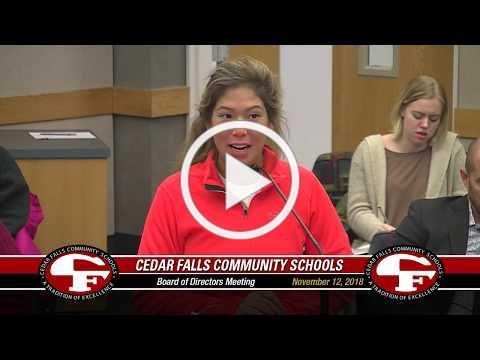 Cedar Falls Board of Education meeting - November 12, 2018