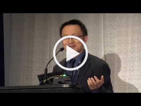 Aaron Yao, PhD, receiving the AAHCM 2019 Dan Gilden Creative Investigator Award
