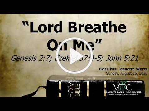 "Sermon: ""Lord Breathe On Me"" (Genesis 2:7; Ezekiel 37:4-5; John 5:21)"