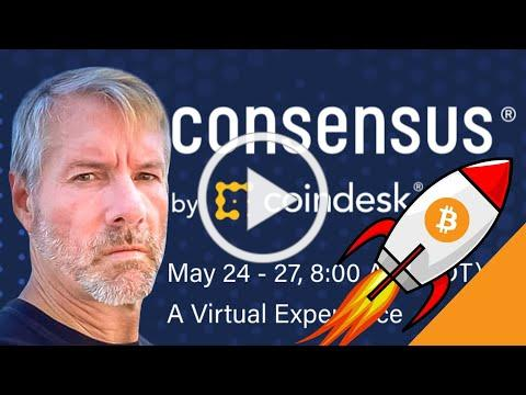 Michael Saylor BULLISH at Consensus 2021   Bitcoin Mining Council, Chat with Elon, China FUD, ESG!