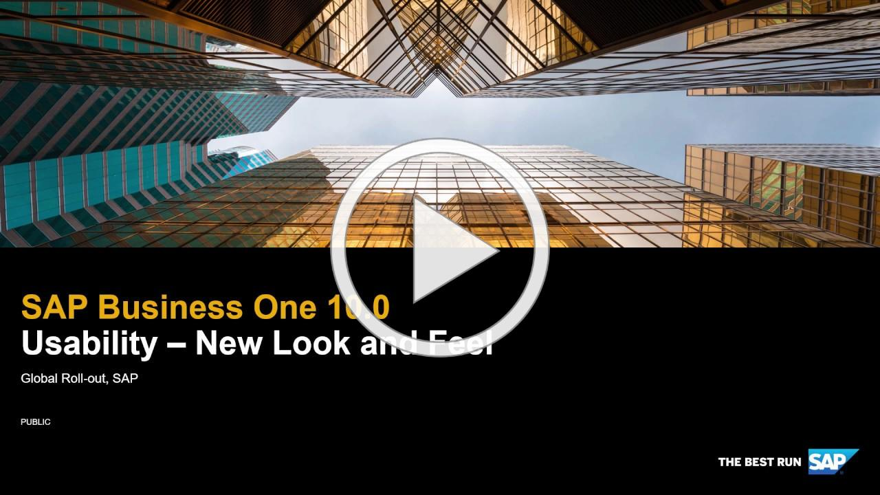 SAP Business One 10.0 Usability - New Look and Feel