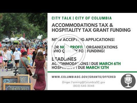 City Talk | Accommodations Tax & Hospitality Tax Grants