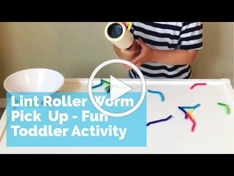 Lint Roller Pipe Cleaner Worm Pick Up - fun toddler activity fine motor activity