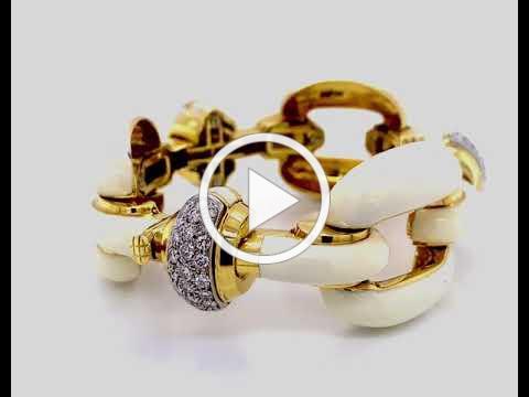 Roberto Legnazzi White Enamel Diamond 18KT Gold Bracelet - MDJ Advantage - Dominic Mainella