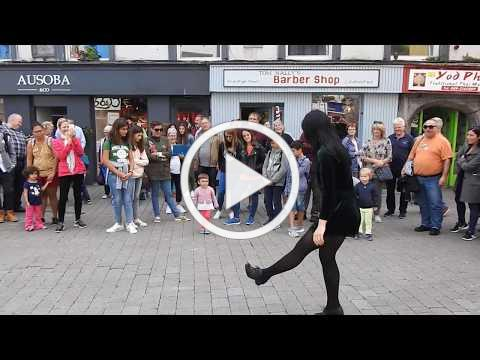 Shop Street Galway, Ireland - Young Lady Irish Dancing