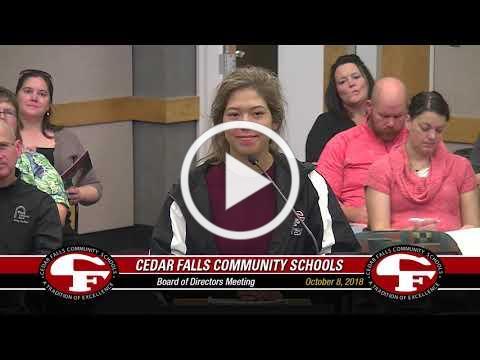 Cedar Falls Board of Education meeting - October 8, 2018