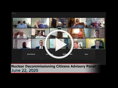 NDCAP Meeting: 6/22/20: Nuclear Decommissioning Citizens Advisory Panel #Plymouth