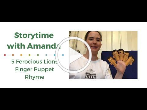 Storytime with Amanda: 5 Ferocious Lions Finger Puppet Rhyme