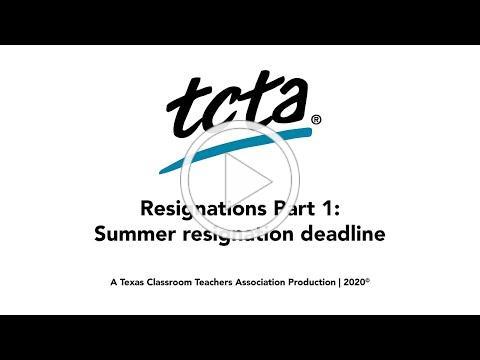 TCTA's Take on Resignations: Part 1