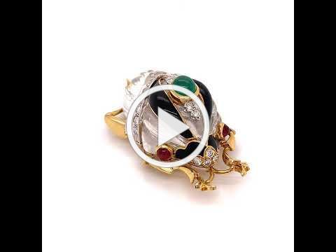4010146 David Webb - Rock Crystal Diamond Onyx Beetle Brooch - Kingdom Collection - One Of A Kind -