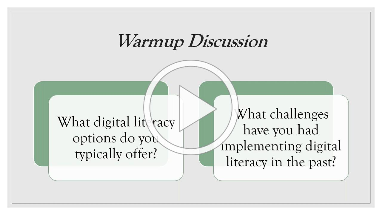 Digital Literacy Adaptable Curriculum and Practical Ideas