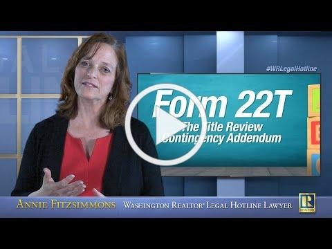 Form 22T - The Title Review Contingency Addendum