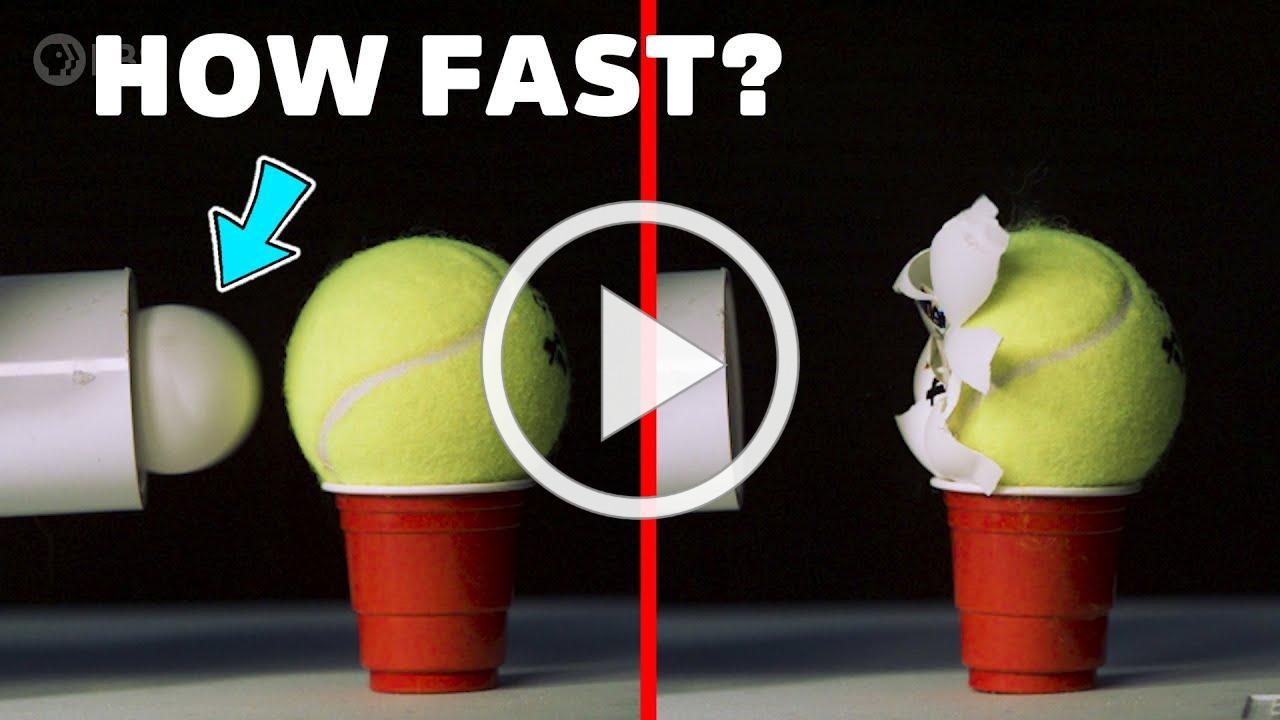 Ballistic Ping Pong Ball vs. Tennis Ball at 450km/h!