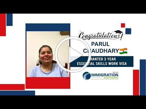 IANZ Client Success Stories   Parul Chaudhary   Granted 3 Year's Essential Skills Work Visa