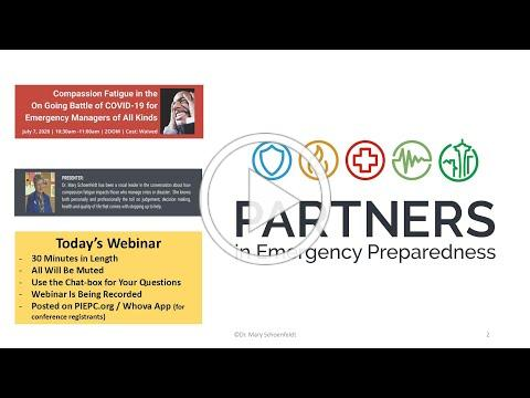 PIEP Webinar Series | Compassion Fatigue in the on Going Battle of COVID-19 for Emergency Managers