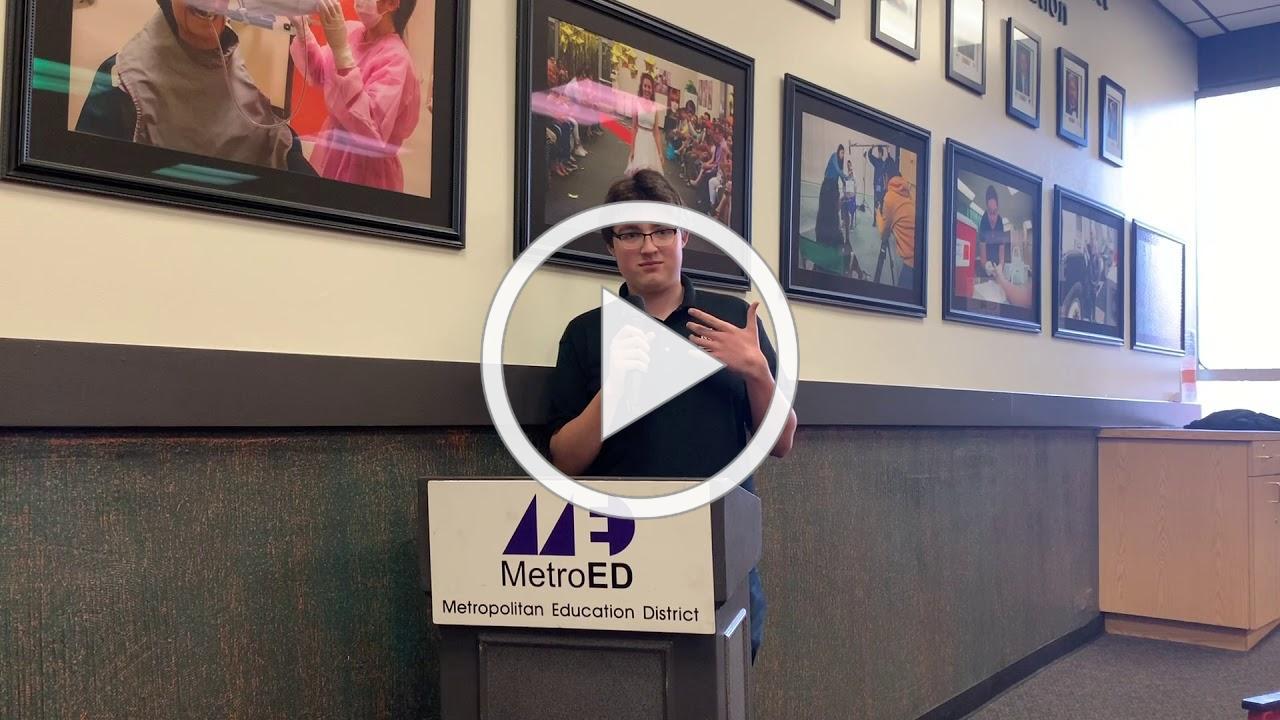 SVCTE HVAC Student Alexander from Oak Grove HS in East Side USD Speaks at MetroED Board Meeting