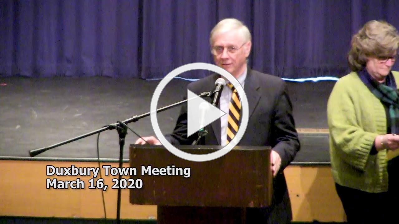 #Duxbury Special Town Meeting 3/16/20 Postponement Announcement