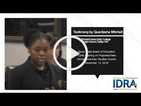 Quardasha Mitchell Testimony for African American Studies 2019