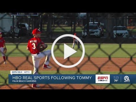 Tommy Morrissey showing off baseball skills
