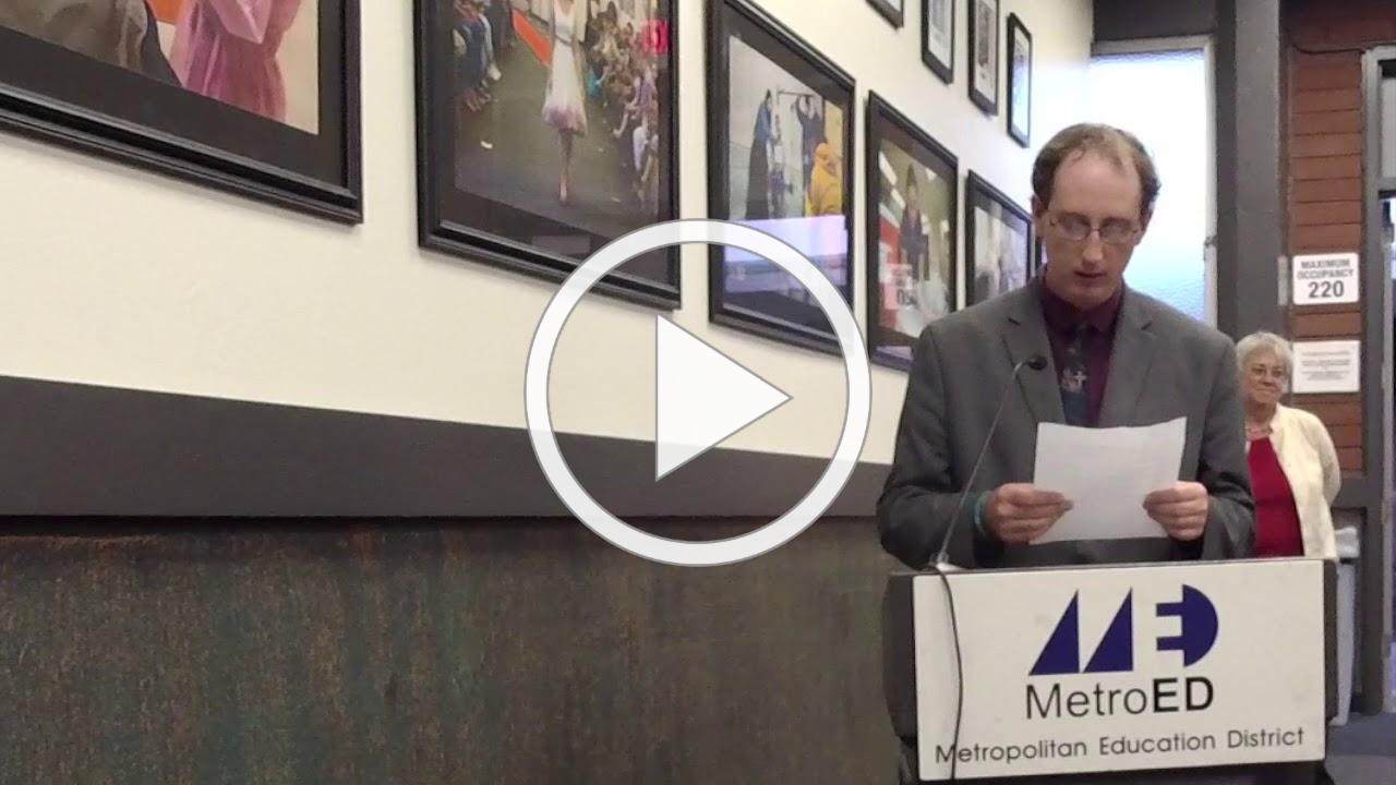 SVAE Student Nicholas Bell Testimonial At MetroED Board Meeting