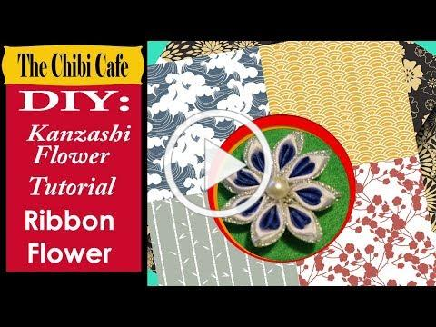 Kanzashi Blue ribbon flower tutorial