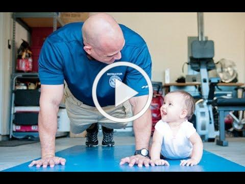 Father and Children Workout Hardly