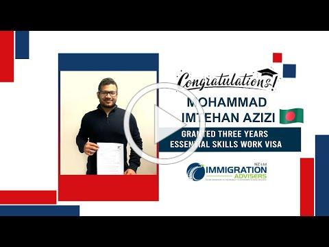 IANZ Client Success Stories   Mohammad Imtehan Azizi   Granted 3 Years ESWV