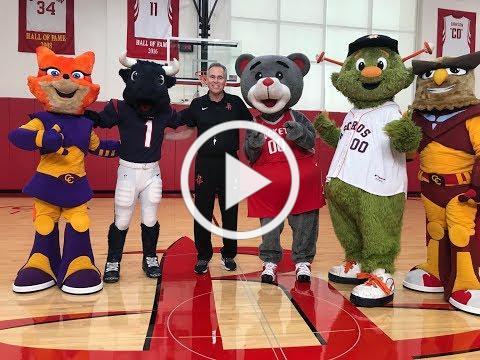 Barbara Bush with Houston Mascots