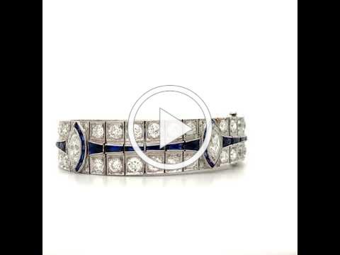 MDJ Advantage - Art Deco 1925 - 16.00 cttw Diamond Sapphire Platinum Bracelet - 4009696