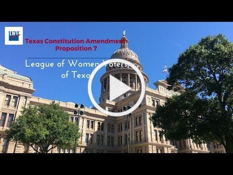 Proposition 7, Texas Constitution Amendment Nov. 7th Election