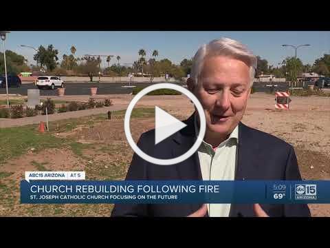 Plans have advanced to rebuild St. Joseph's Catholic Church after massive fire