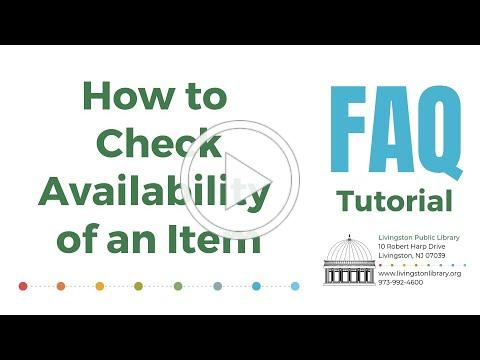 FAQ - How to Check Availability of an Item